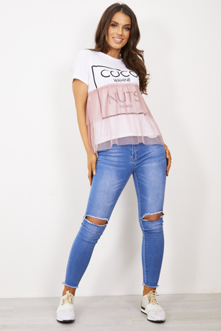 Dusty Pink Coco Wahine Mesh Overlay T-Shirt