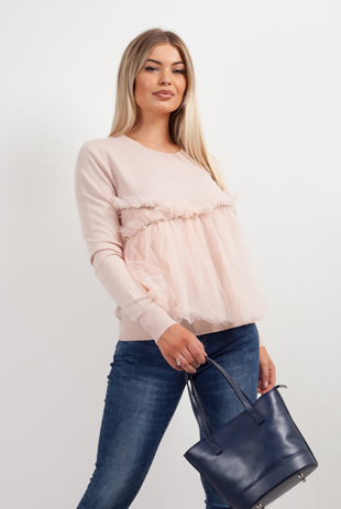 Dusty Pink Mesh Front Diamante Detail Jumper