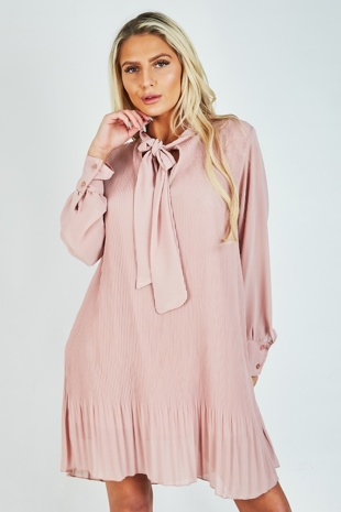 Dusty Pink Pleated Bow Shift Dress