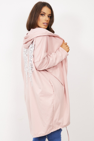 Dusty Pink Sequin Angel Wings Hooded Cardigan