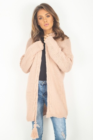 Dusty Pink Tassle Cardigan