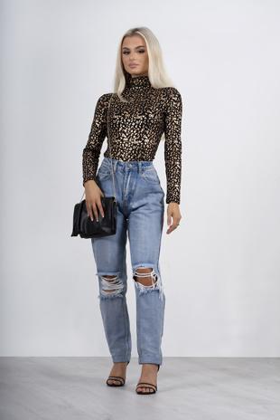 Metallic mesh leopard print high neck top