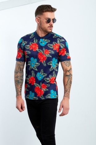Mens Navy Floral Print Polo Shirt