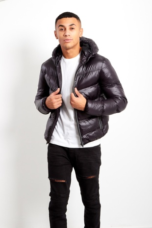 Black Mens Hooded Puffer Jacket