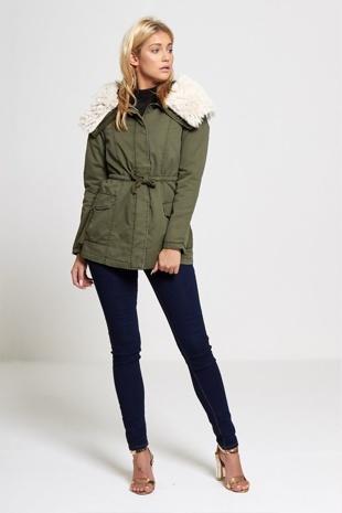 Khaki Faux Fur Collared Parka Coat