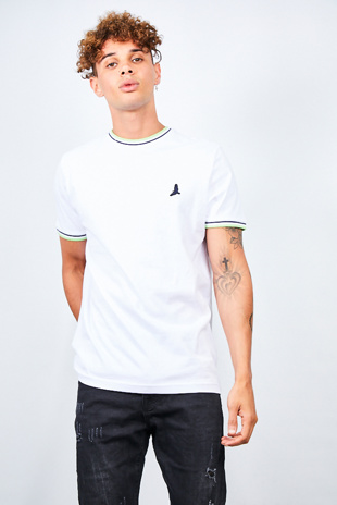 Mens White Contrast Sports Stripe Rib Detail T-shirt