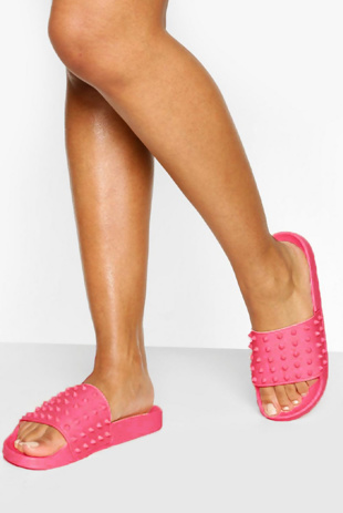 Neon Pink Studded Pool Sliders