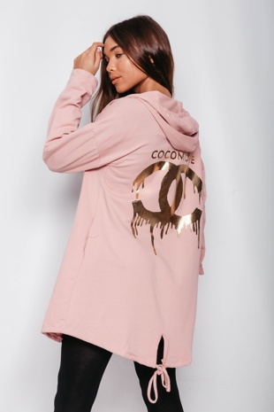 Dusty Golden Cocomore Logo Hooded Cardigan