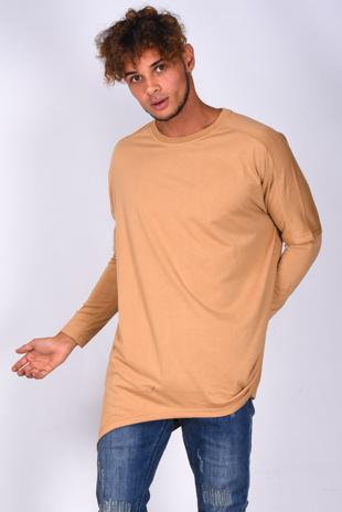 Mens Camel Crew Neck Longline T-Shirt