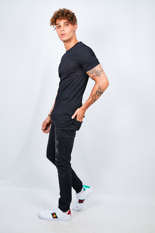 Mens Black Ribbed Detail T-Shirt