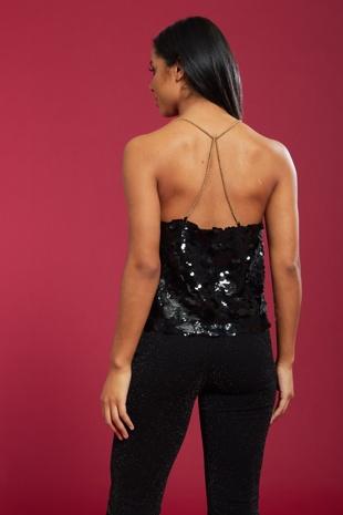 Black Sparkle Sequin Top