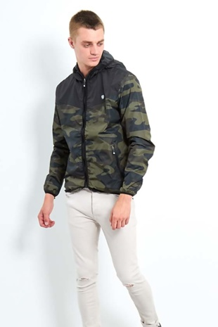 Mens Black Camo Contrast Windbreaker Jacket