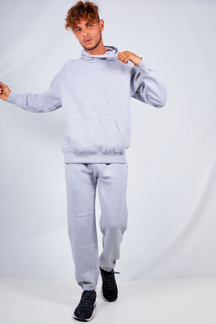 Mens Grey Basic Pullover Hood Tracksuit