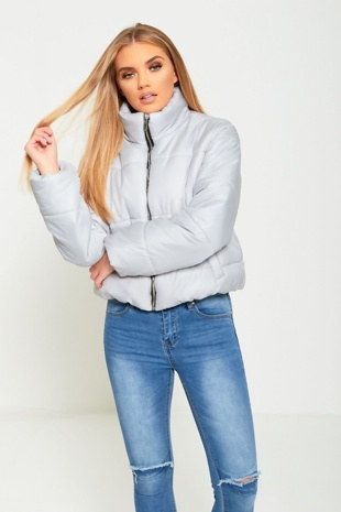 469 Light Grey High Neck Cropped Puffer Jacket