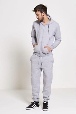 Mens Grey Fleece Jogging Pockets Plain Tracksuit Preorder