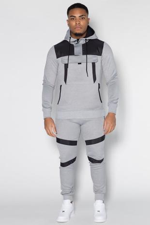 Mens Grey Hybrid Pullover Skinny Tracksuit