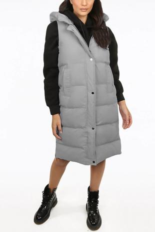 Grey Longline Hooded Puffer Gilet