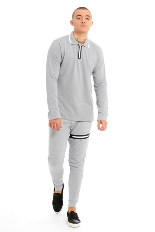 Mens Grey Zip Detailed Skinny Fit Polo Tracksuit