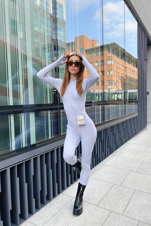 Grey Ribbed High Neck Front Zip Jumpsuit