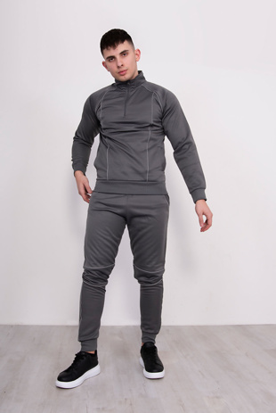 Mens Grey Tracksuit With Reflective Piping Detail