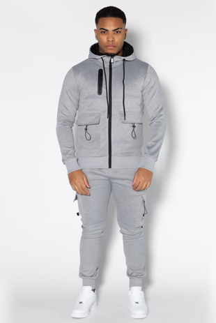 Mens Grey Utility Pockets Skinny Tracksuit