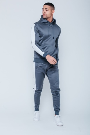 Mens Grey Pull Through Contrast Tape Hooded Tracksuit Preorder
