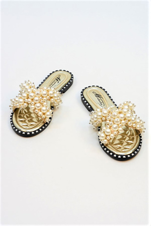 Gold Pearl Embellished Slip On Sandals