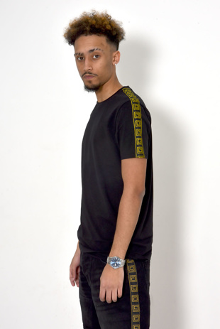 Men Black Greek Diamond Striped T-Shirt