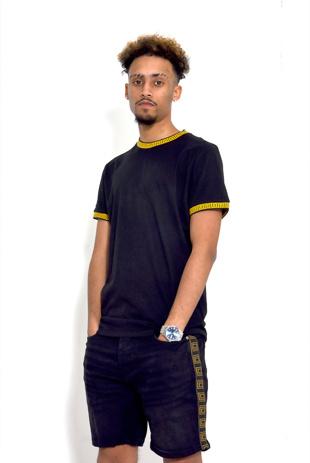 Mens Black Greek Diamond Taped T-Shirt