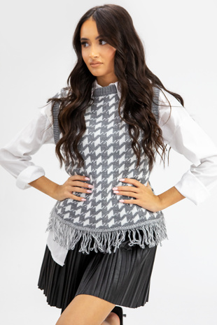 Grey Dogtooth Knitted Vest With Undershirt