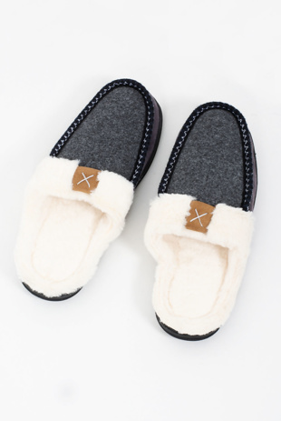 Mens Grey Faux Fur Moccasin Slippers