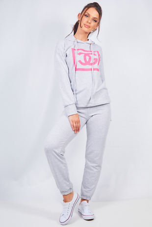 Grey Graphic Print Hooded Lounge Set
