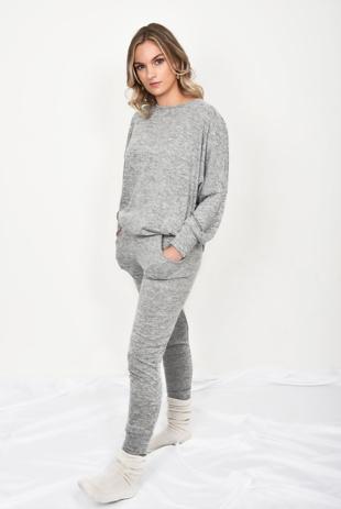 Grey Marl Dip Hem Top And Jogger Loungewear