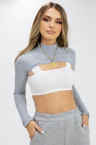 Grey Rib Super Crop Top