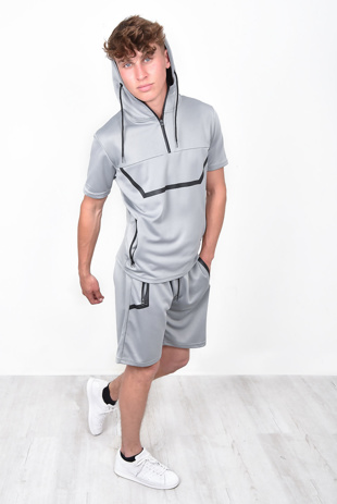 Mens Grey Hooded Half Zip Short Set With White Border