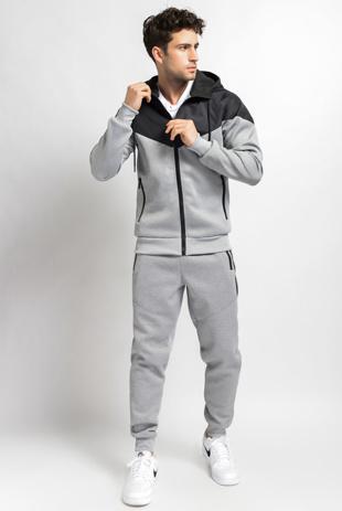 Mens Grey Zip Through Hybride Hooded Tracksuit-Copy-Copy