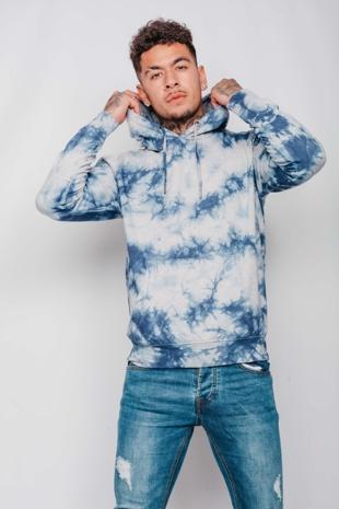 Mens Grey Tie Dye Pullover Hoodie