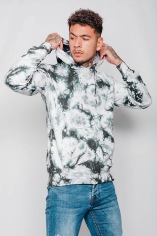 Mens White Tie Dye Pullover Hoodie