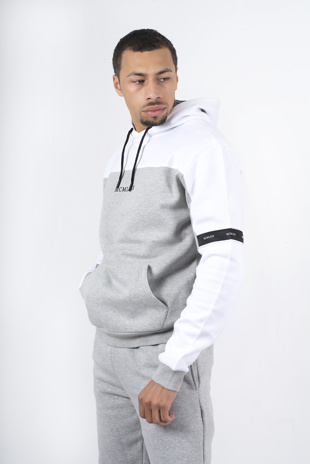 Mens White And Grey Blocked Overhead Hoodie