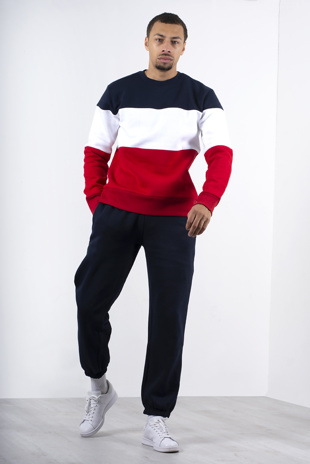 Mens Navy Long Sleeve Colourblock Sweatshirt