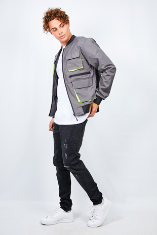 Charcoal Neon Utility Pocket Detail Bomber Jacket
