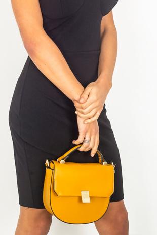 Mustard Round Crossbody Bag