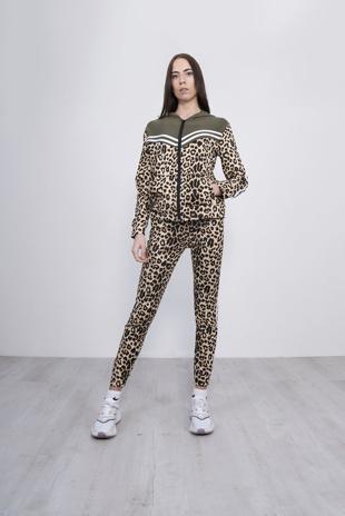 Khaki Leopard Striped Tracksuit