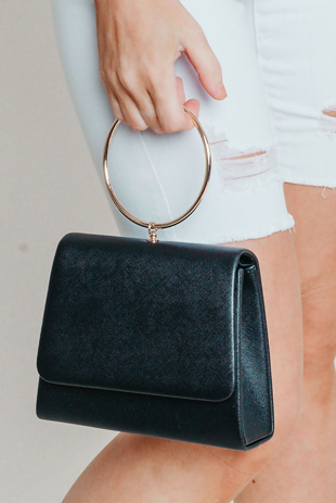 Hayley Hughes Modelled Black Metal Ring Handle Shoulder Bag