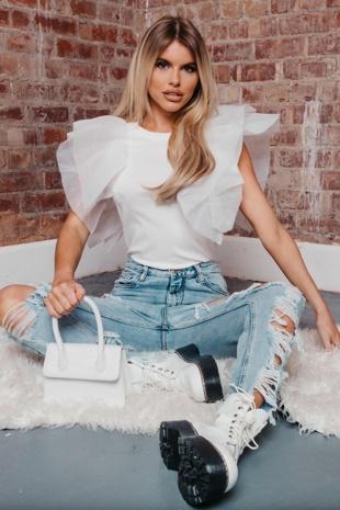 Hayley Hughes Modelled White Organza Ruffle Sleeve Top