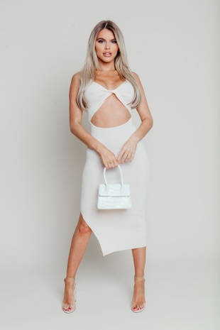 Hayley Hughes Modelled Cream Ribbed Twist Front Cut Out Bodycon Dress