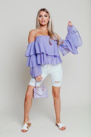 Hayley Hughes Modelled Lilac Linen Bardot Tiered Sleeve Crop Top