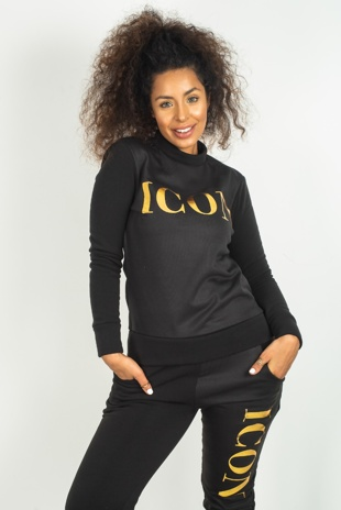 Black Icon Printed Loungewear Set