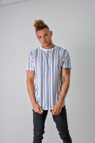 Ice Blue Multi Stripe T-Shirt
