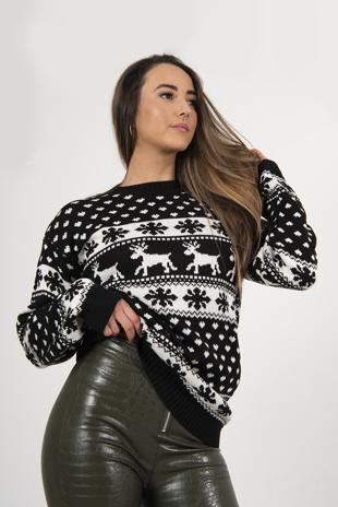 Black Reindeer And Snowflake Knitted Christmas Jumper